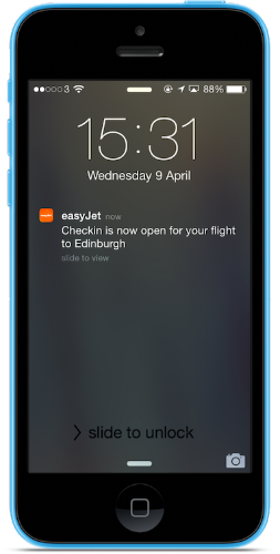 Push notifications best practices from Cantarus, easyJet checkin
