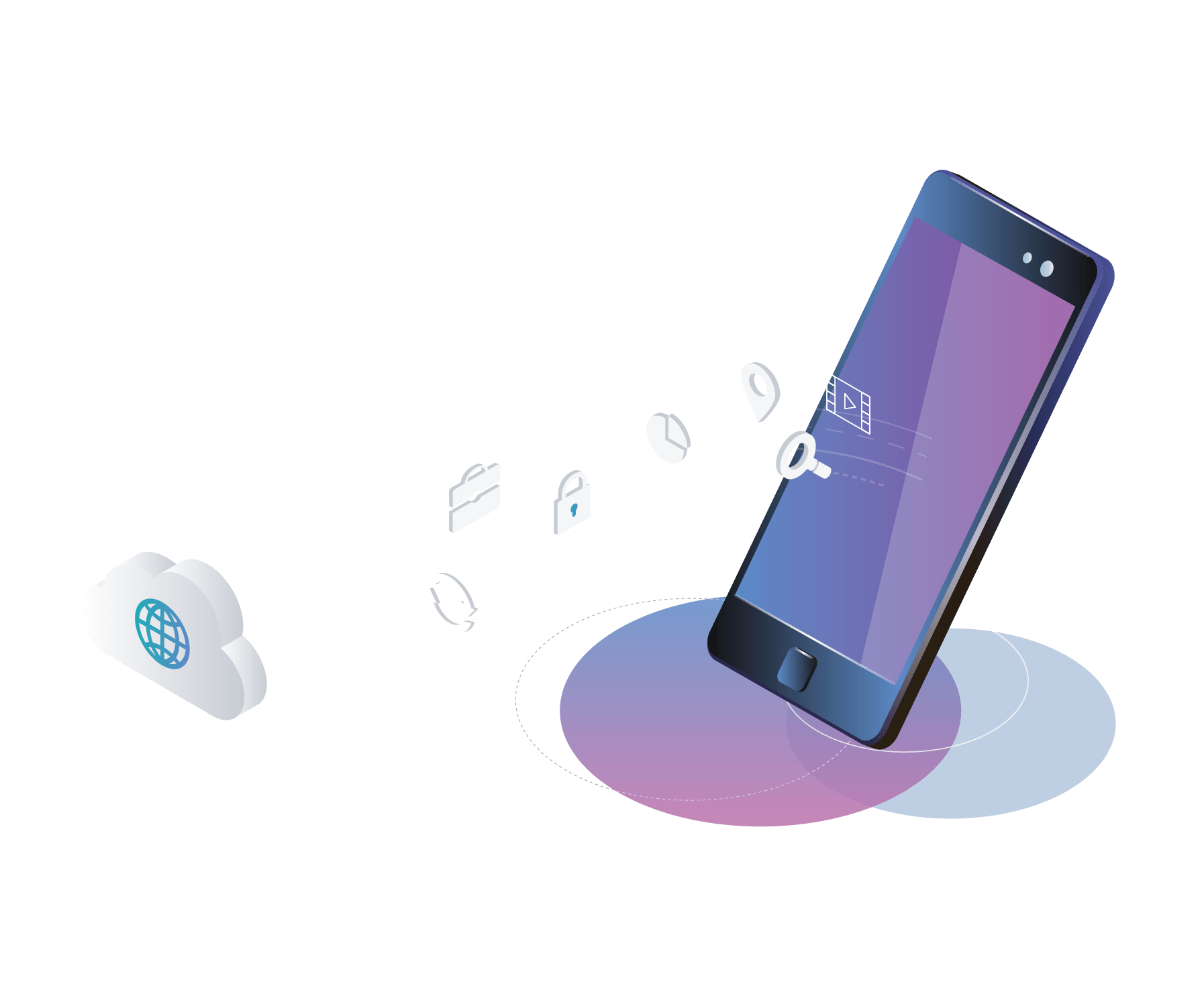 An illustration of a cloud-connected smartphone and its apps.